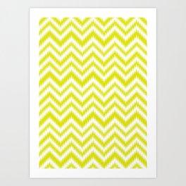 Chevron, Yellow, Scandinavian, Minimal, Pattern, Modern art Art Print