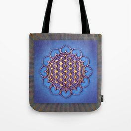 Flower Of Live Lotus - Golden Shine On Blue Beauty II Tote Bag