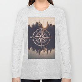 Rose Gold Compass Forest Long Sleeve T-shirt