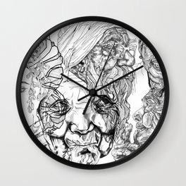 Geometric Portait Black and White Collage Wall Clock
