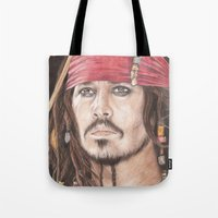 jack sparrow Tote Bags featuring Captain Jack Sparrow by JadeJonesArt