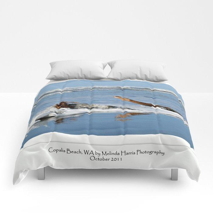 Driftwood in the Ocean Surf Comforters
