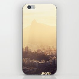 Rio de Janeiro Skyline With Christ the Redeemer in Yellow Afternoon Light iPhone Skin