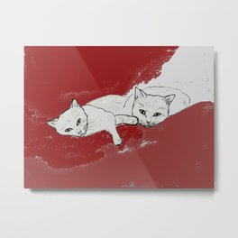 Two Cuddly Cats: Nap and Stare Metal Print
