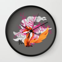 kitsune Wall Clocks featuring Kitsune by Mazuki Arts
