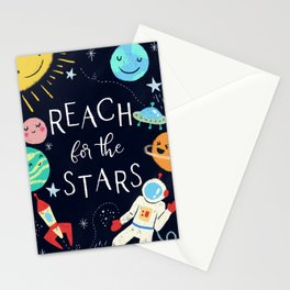Reach For The Stars Nursery Quote Stationery Cards