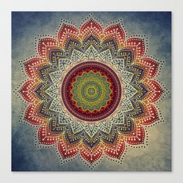 Retro Folk Art - Spirit Lotus Mandala Blue Red Canvas Print