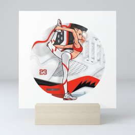 """Yoga girl Cool Noodle and """"Fire Red"""" Mini Art Print"""