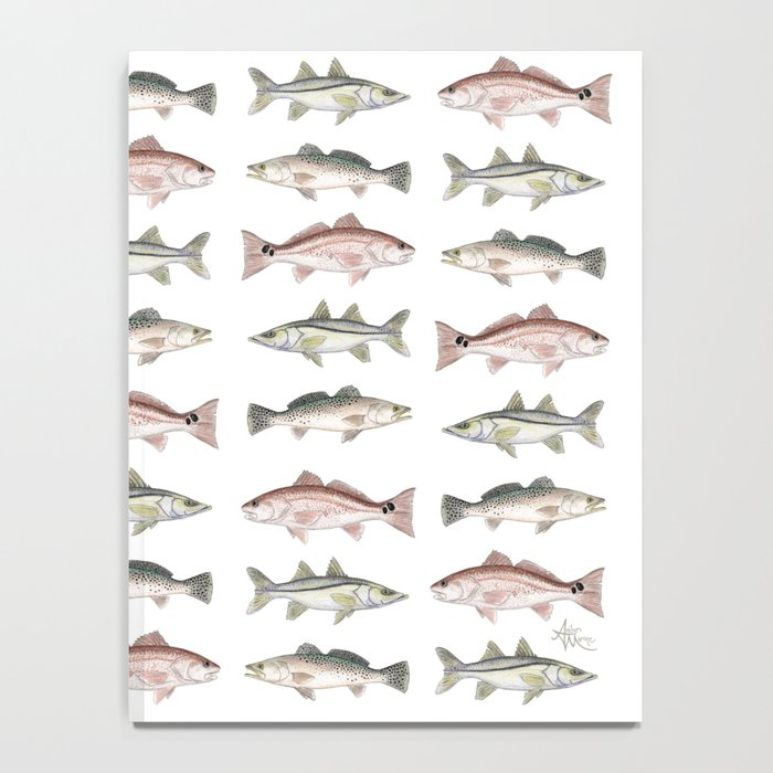 Pattern: Inshore Slam ~ Redfish, Snook, Trout by Amber Marine ~ (Copyright 2013) Notebook