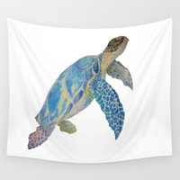 sea turtle Wall Tapestries featuring Sea Turtle. by Felix Art Design