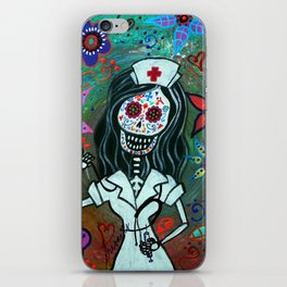 MY FAVORITE NURSE MEXICAN DAY OF THE DEAD PAINTING iPhone Skin