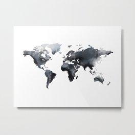 Blue world map Metal Print