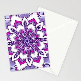 Fuchsia Lavender Flower Mandala Stationery Cards