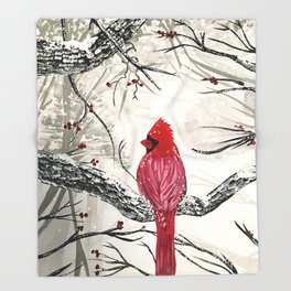 Red Robins Winter Throw Blanket