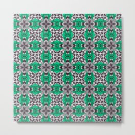 Sea Glass Green and White Repeat Tile Pattern Metal Print