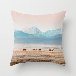 Big Hole Horses Throw Pillow