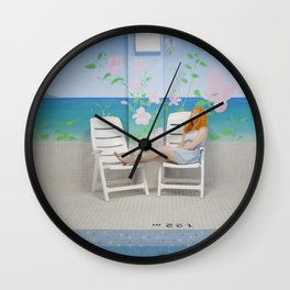 holly as me (indoor pool) Wall Clock