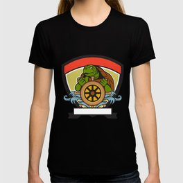 Ridley Turtle At Helm Crest Retro T-shirt