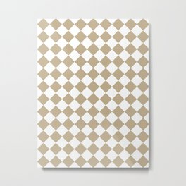 Diamonds - White and Khaki Brown Metal Print