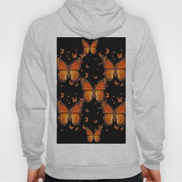 ORANGE MONARCH BUTTERFLIES BLACK MONTAGE Hoody