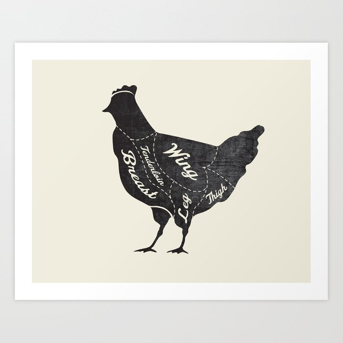Chicken Butcher Diagram Art Print By Kitchenbathprints