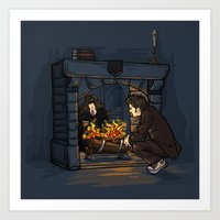 hallion Art Prints featuring The Witch in the Fireplace by Karen Hallion Illustrations