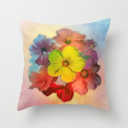 Colorful Hibiscus Bouquet Throw Pillow
