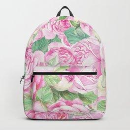 Fuchsia pastel pink green elegant roses floral Backpack