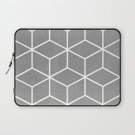 Light Grey and White - Geometric Textured Cube Design Laptop Sleeve