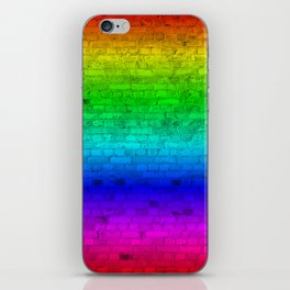 Bright Neon Rainbow Color Wheel Spectrum Brick Wall iPhone Skin