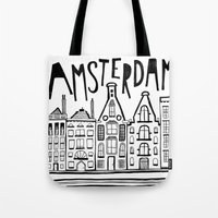 amsterdam Tote Bags featuring Amsterdam by Heather Dutton