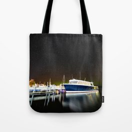 Boats under the milky way Tote Bag