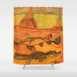 Painted Gar & Alligator Shower Curtain