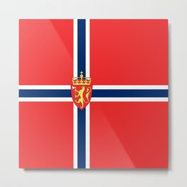 Flag of Norway Scandinavian Cross and Coat of Arms Metal Print