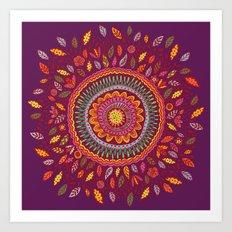 Leafy Fall Mandala Art Print