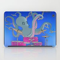 drums iPad Cases featuring Octopus Playing Drums - Blue by Ornaart