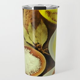 Olive Oil and Spices on wooden table Travel Mug