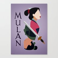mulan Canvas Prints featuring Mulan by hayley phoenix