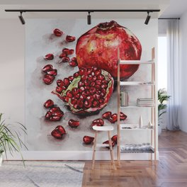 Red pomegranate watercolor art painting Wall Mural