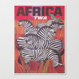 Africa Zebras Vintage Travel Poster Canvas Print