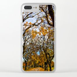 trees with orange leaves Clear iPhone Case