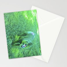 Monkey red nose, between green. Stationery Cards