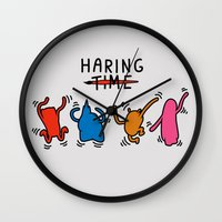 keith haring Wall Clocks featuring Haring Time2 by le.duc