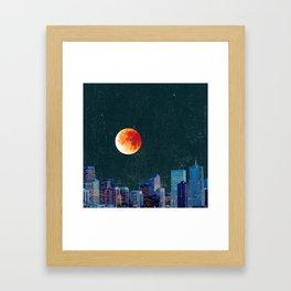 Blood Moon over Denver Colorado Skyline Framed Art Print