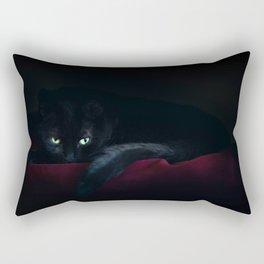 Black Cat In The Night Rectangular Pillow