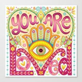 You are loved - Hamsa heart art by Thaneeya McArdle Canvas Print