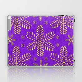 DP044-3 Gold snowflakes on purple Laptop & iPad Skin