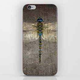 Dragonfly On Distressed Metallic Grey Background iPhone Skin