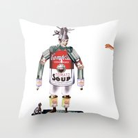 knight Throw Pillows featuring knight by swinx