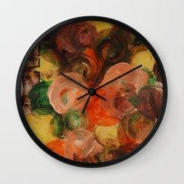 Neutral Roses, Home Decor, Kitchen Wall, Floral, Abstract Circles Wall Clock